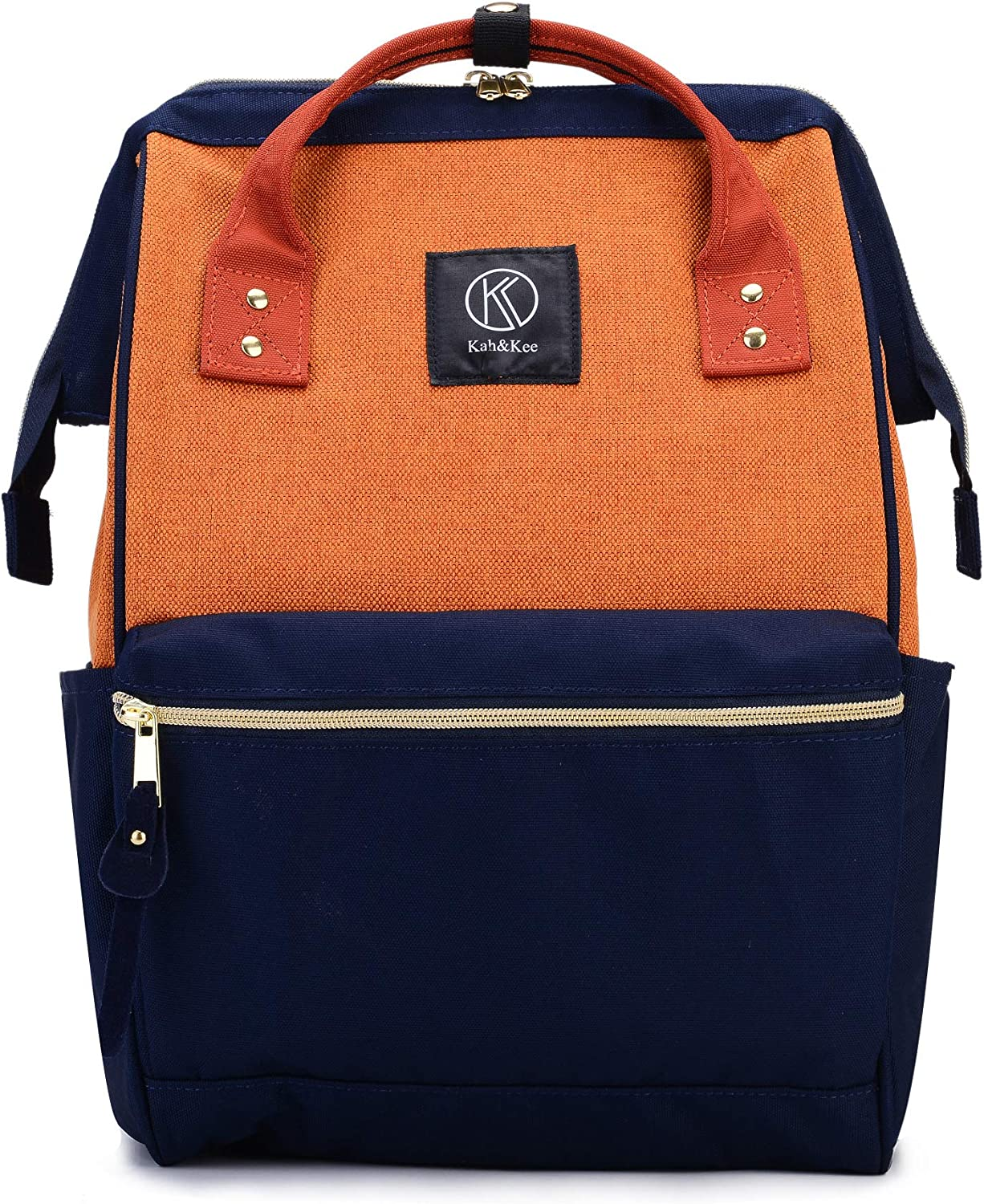 Kah&Kee Polyester Travel Backpack Functional Anti-theft School Laptop for Women Men (Linen Orange, Large)