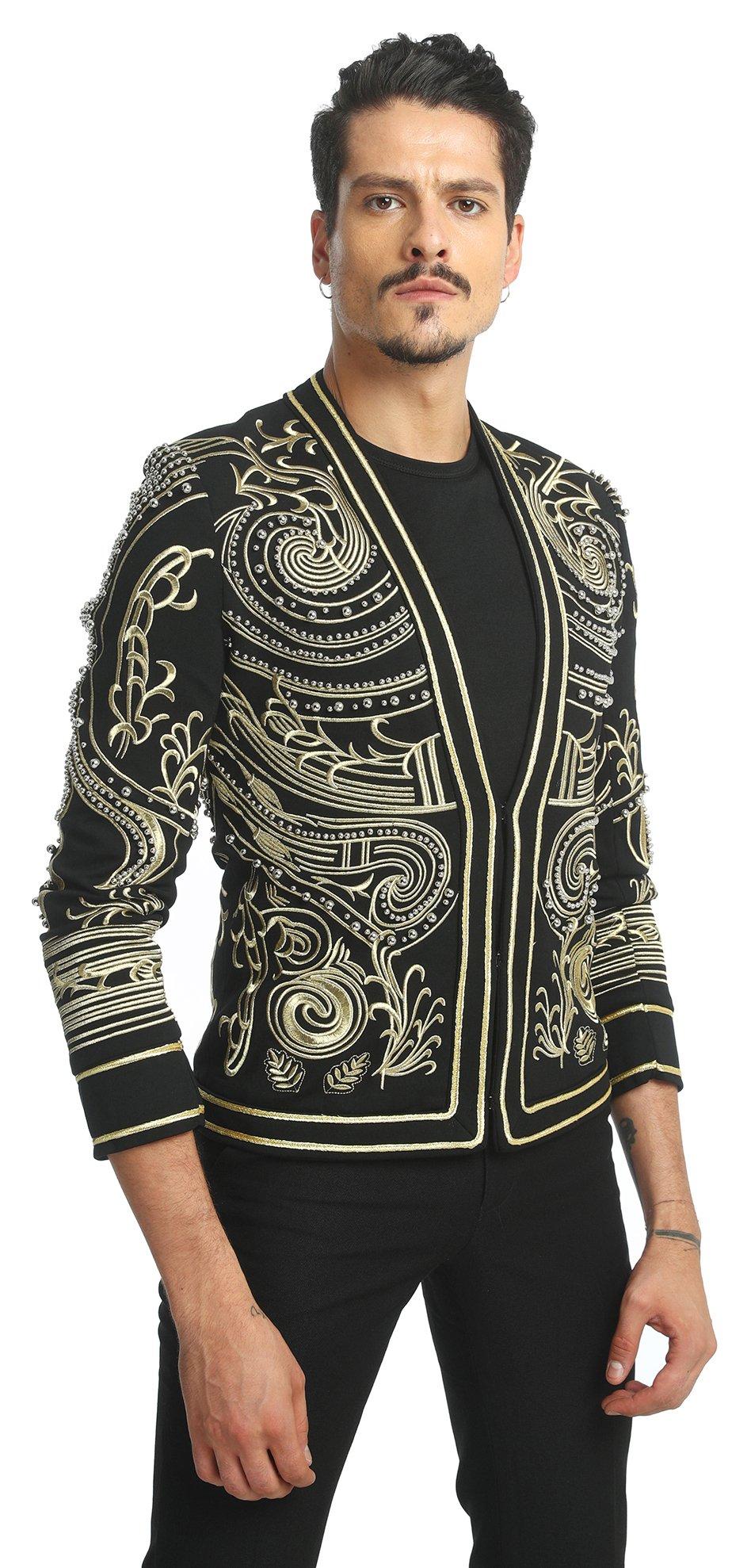 Pizoff Men's Luxury V-Neck Slim Fit Stylish Suit Blazer Jacket Long Sleeve Formal Dinner Dress AD001-02-L by Pizoff (Image #2)