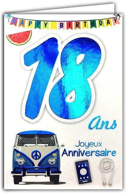 carte anniversaire 18 ans garçon 69 2118 Carte Joyeux Anniversaire 18 ans Garçon Jeune Homme Adulte
