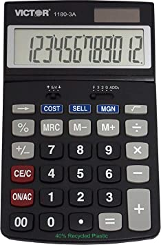 Victor 1180-3A 12-Digit Standard Function Calculator, Battery and Solar Hybrid Powered Adjustable Angle LCD Display, Great for Home and Office Desks, Black