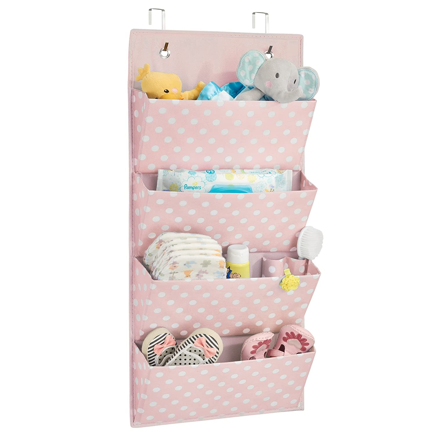 mDesign Soft Fabric Wall Mount/Over Door Vertical Hanging Storage Organizer Center - 4 Large Pockets for Baby Child/Kids Bedroom, Nursery, Playroom, Closet - Polka Dot Print, 2 Pack - Pink/White MetroDecor 02387MDCO