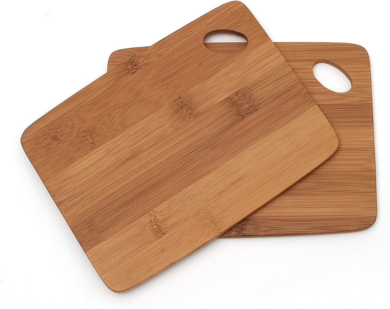 Lipper International Bamboo Wood Thin Kitchen Cutting Boards with Oval Hole in Corner, Set of 2 Boards, 6