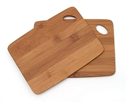 Lipper International 849 Bamboo Wood Thin Kitchen Cutting Boards with Oval  Hole in Corner, Set of 2 Boards, 6\