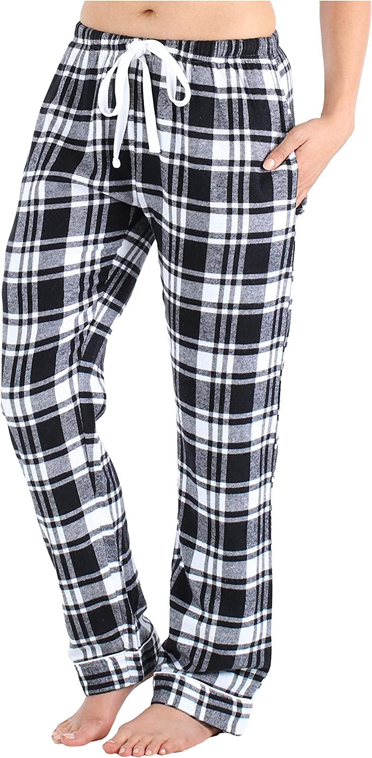 PajamaMania Women's Cotton Flannel Pajama PJ Pants with Pockets at  Women's Clothing store
