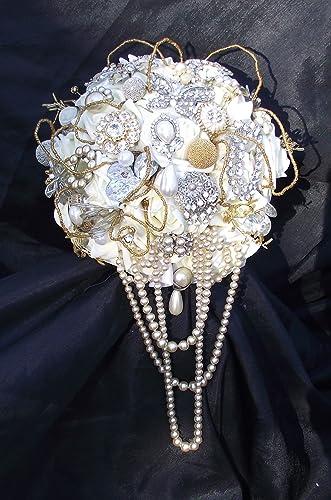 Amazon Com Cascade Brooch Bouquet Gold Wedding Bouquet Gold