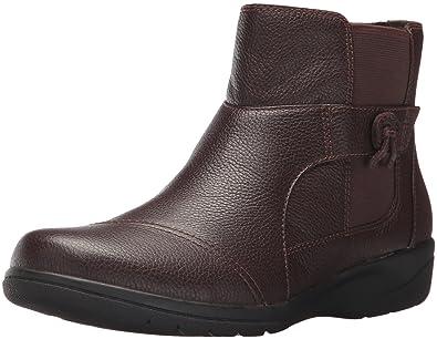 CLARKS Women's Cheyn Work Ankle Bootie, Dark Brown Leather, ...