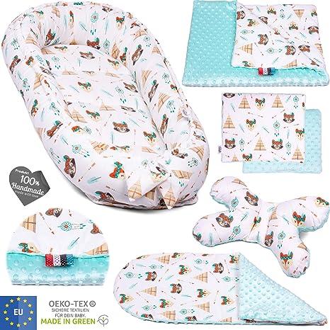 5 piezas PALULLI Set de equipamiento para bebé: nido para bebé de 95 x 55 cm, colchón para bebés, manta para acurrucarse, cojín para el cuello, OEKO ...