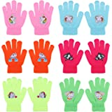 QKURT 6 Pairs of Children's Magic Gloves, Winter Warm Gloves Full Fingers Toddler Gloves Unicorn Pattern fit for Age of…