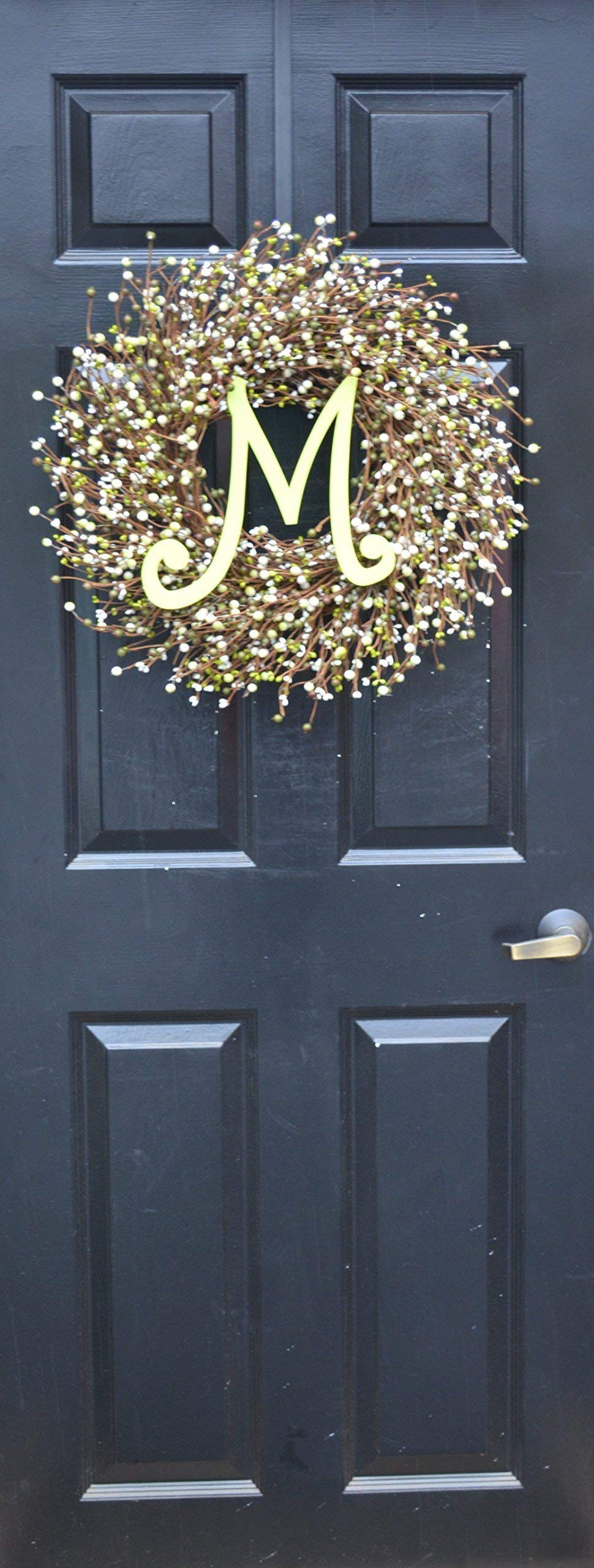 Elegant Holidays Handmade Cream, Green Berry Wreath with Monogram, Front Door Welcome Guests Outdoor Indoor Home Wall Accent Décor Great Spring, Easter, St Patricks Day, Christmas, All Seasons, 18-24 by Elegant Holidays Inc. (Image #2)