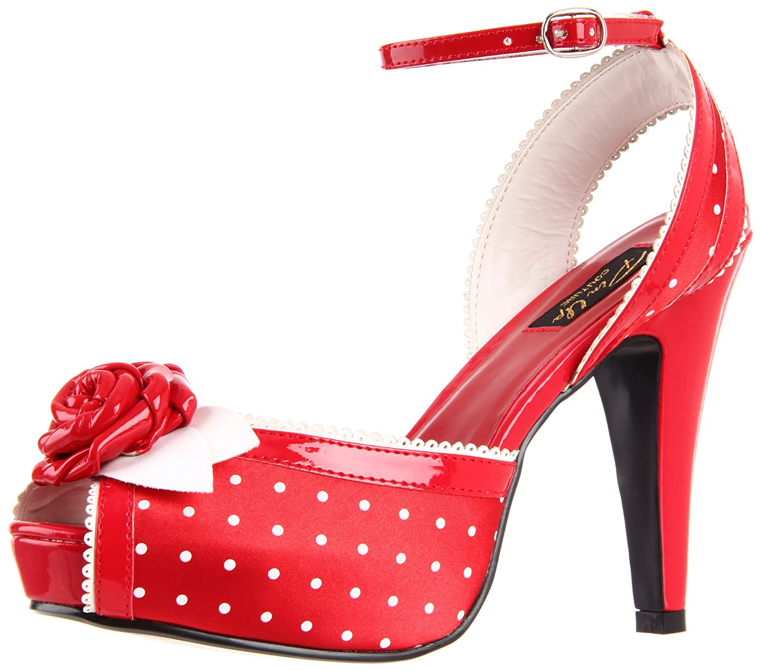 Pin Up Pin Couture BETTIE-06 - Red Up Satin (Polka Dots Print) UK 2 (EU 35) - 4b5f754 - boatplans.space