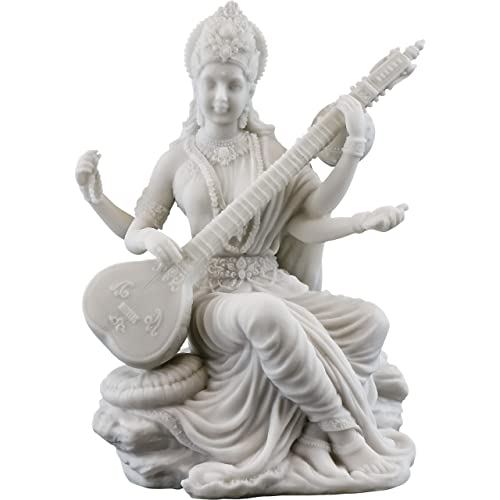 Top Collection Saraswati Statue – Hindu Goddess of Knowledge, Music Art Sculpture in White Marble Finish- 5.75-Inch Figurine