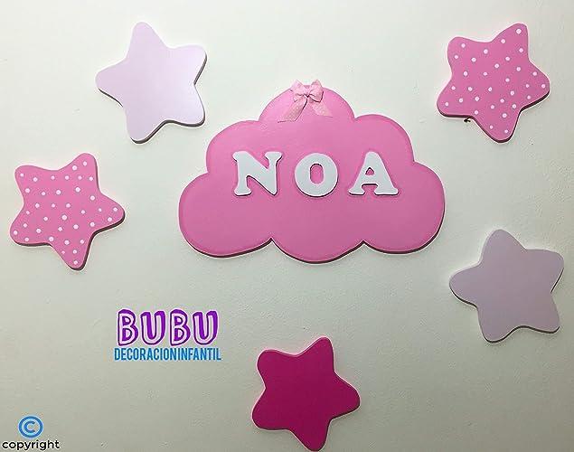 Placa infantil Nube con nombre personalizado y estrellitas ...