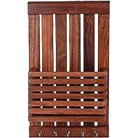 Kinton Craft World Royal Handicraft Wooden Wall Hanging/Mounting Letter/Paper Organizer with Key Hooks Holder/Mobile Stand (Key Holder) (Key Hanger)
