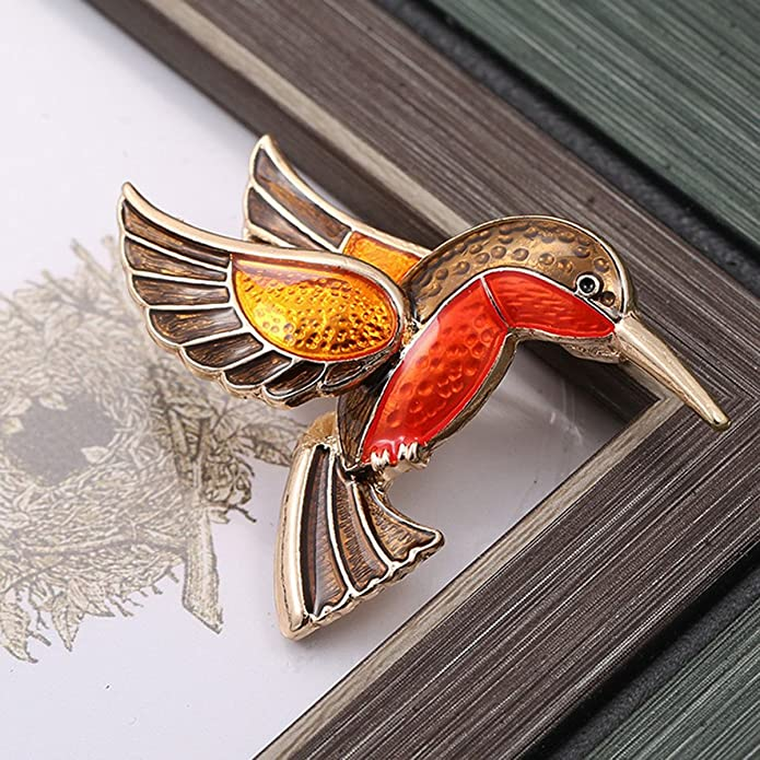 bbc6b019717 Amazon.com  Woogge Women Animal Brooch Orange Enamel Lovely Hummingbird  Brooch Pins 18K Gold for Girls  Jewelry