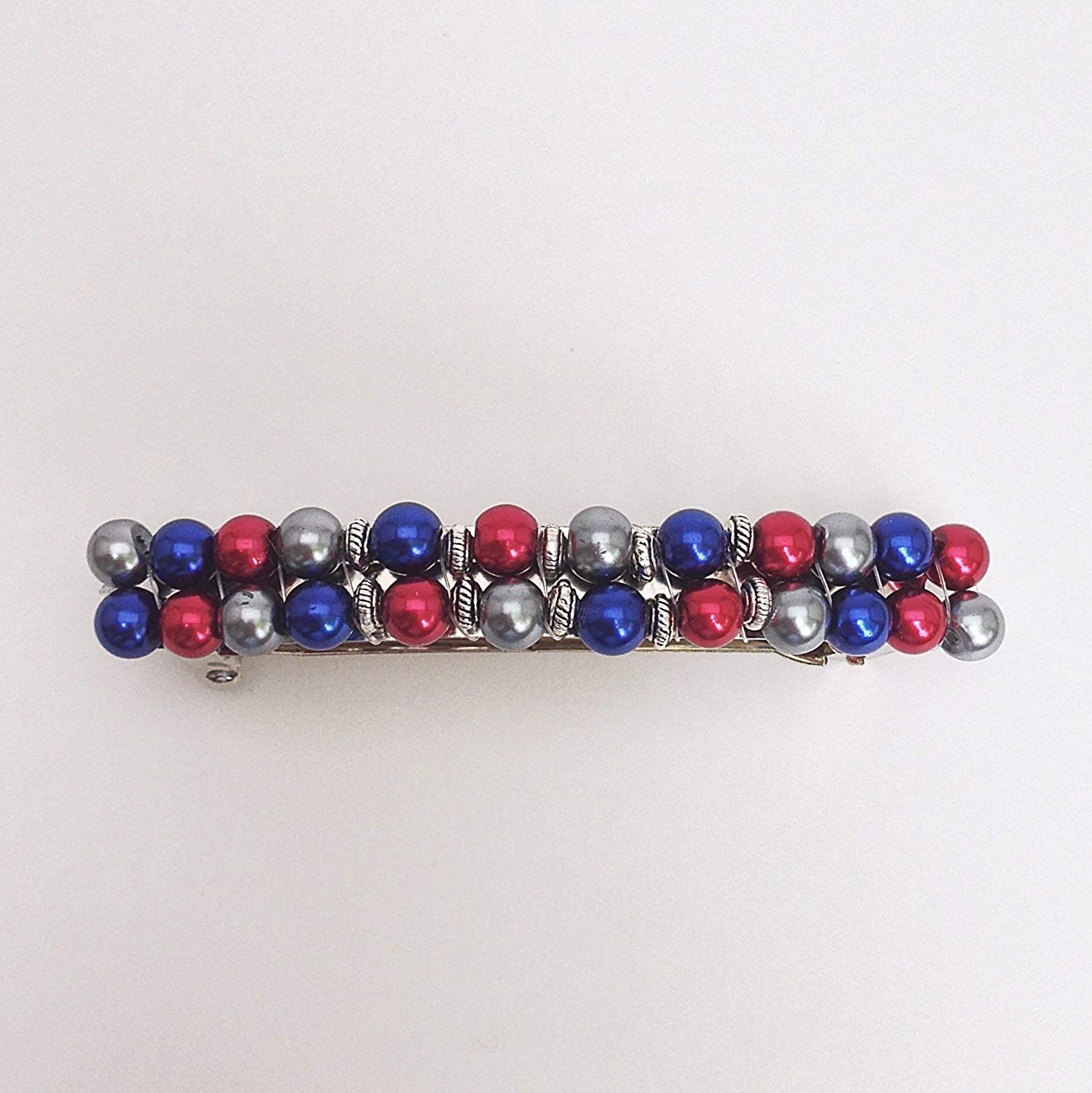Blue Red Green Orange Pearl Beaded Barrette Womens Wedding Hair Clip Clasp French Barette Accessory Jewelry
