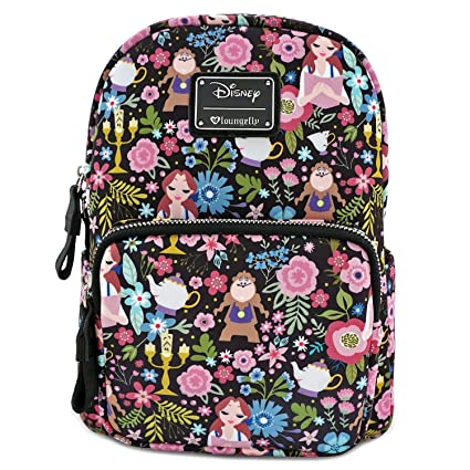 1cc8a127130c Amazon.com  Loungefly Disney Belle Beauty and The Beast All Over Print  Characters Satin Mini Backpack  Toys   Games