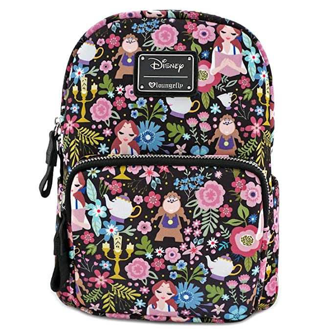 Loungefly Disney Belle Beauty and The Beast All Over Print Characters Satin Mini Backpack