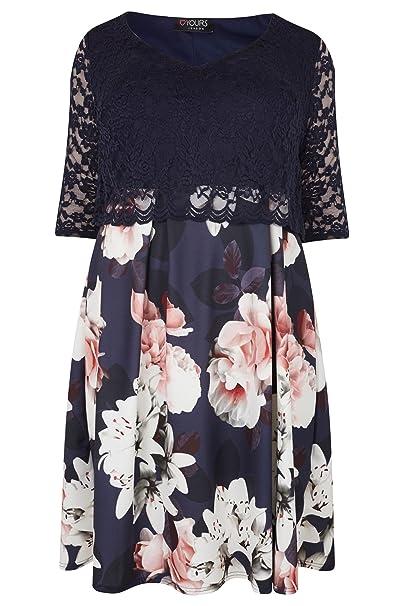 4d5e7de6823 Yours Women s Plus Size London   Multi Floral Print Lace Overlay Midi Dress  Size ...