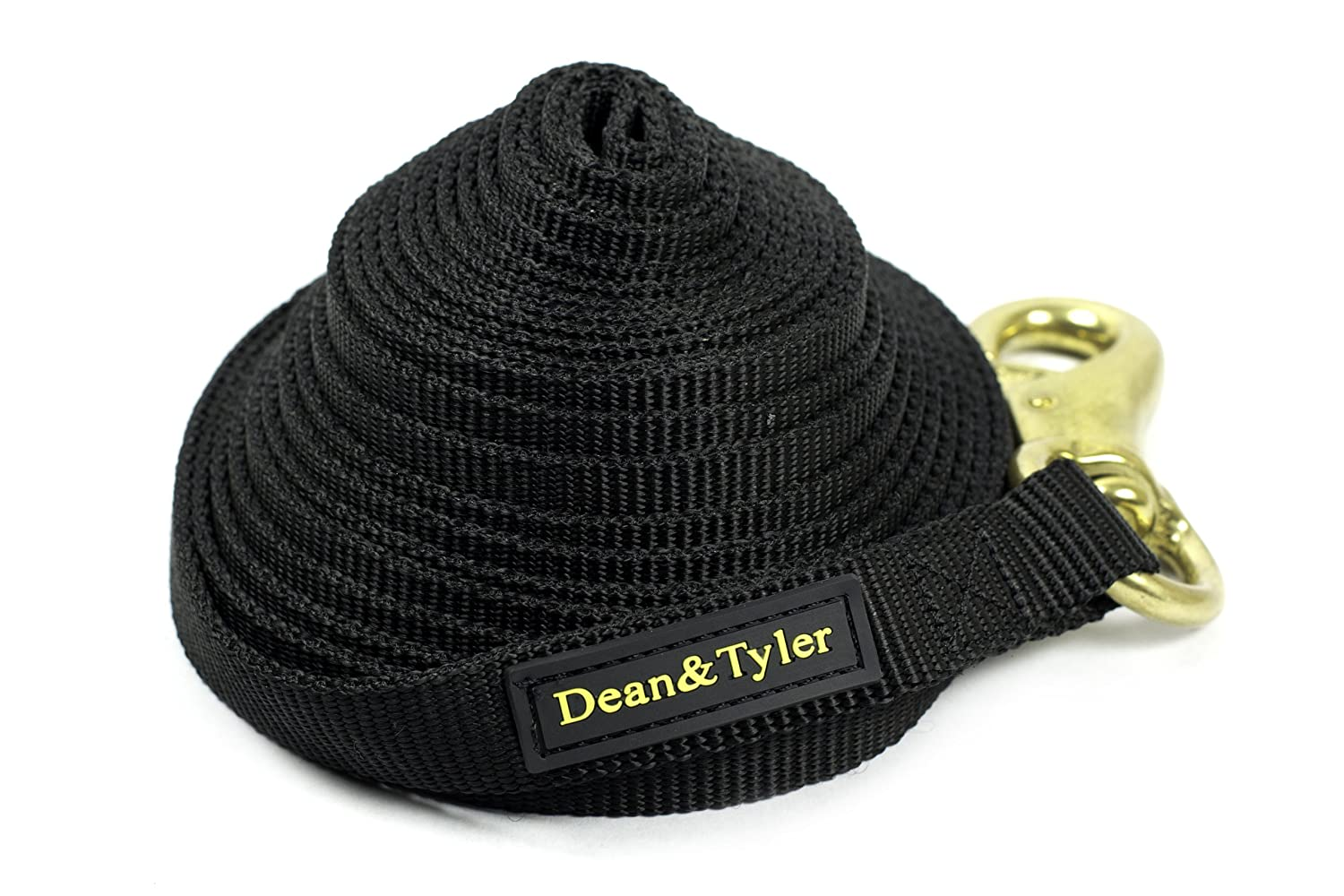 Dean and Tyler Nylon Track Dog Leash, Black 10-Feet by 3 4-Inch Width With Extra Strength Brass Snap.