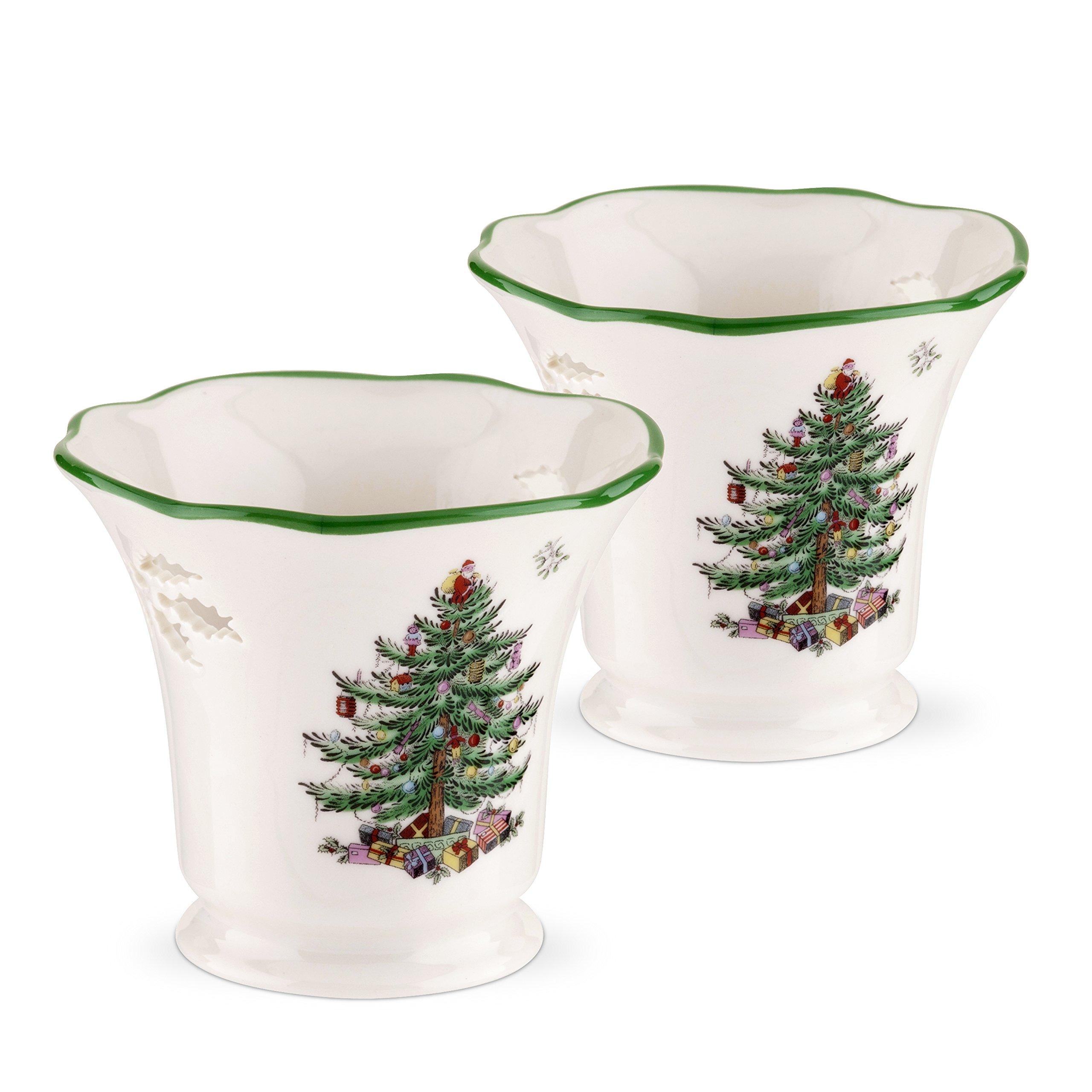 Spode Christmas Tree Pierced Tea Light Holder with Tea Lights, Set of 2