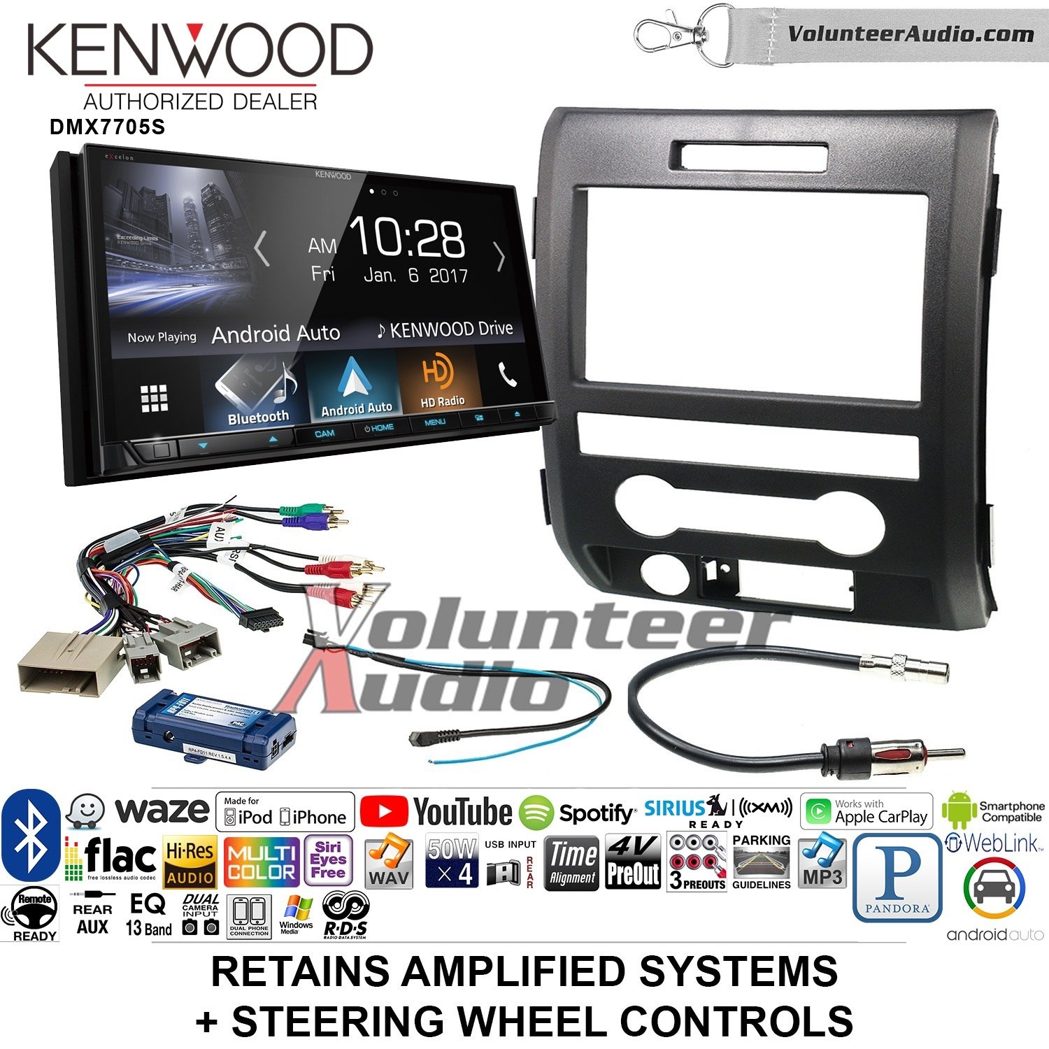 Volunteer Audio Kenwood DMX7705S Double Din Radio Install Kit with Apple CarPlay Android Auto Bluetooth Fits 2009-2014 F-150