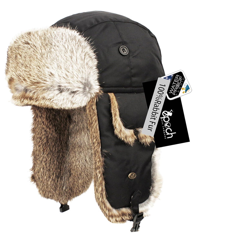 1853d84777b Real Rabbit Fur Trapper Hunting Hat Aviator Winter Cap (BLACK) at Amazon  Men s Clothing store