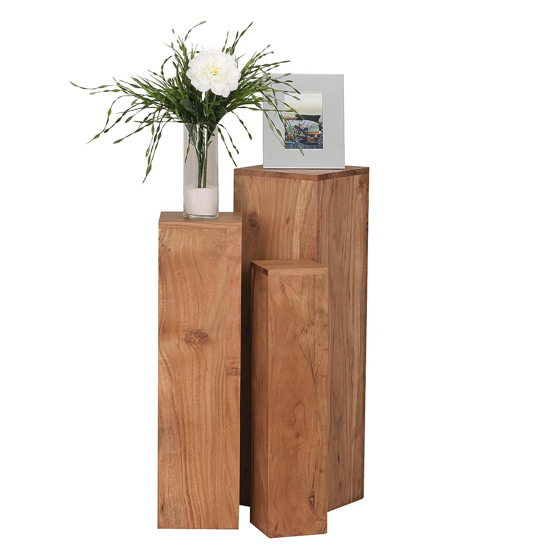 Wohnling Beistelltisch 3er Set Massivholz Akazie Wohnzimmertisch Design Säulen Landhausstil Türme Tisch quadratisch Holztisch Natur-Produkt Echt-Holz Unikat Türme 4 Stanbeine Anstelltische braun