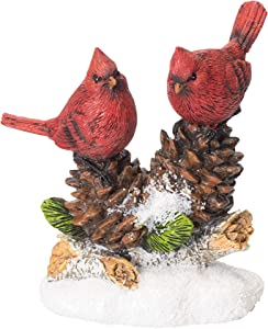 Napco Imports Cardinals on Pinecones 6 x 7 Inch Resin Stone Winter Tabletop Figurine