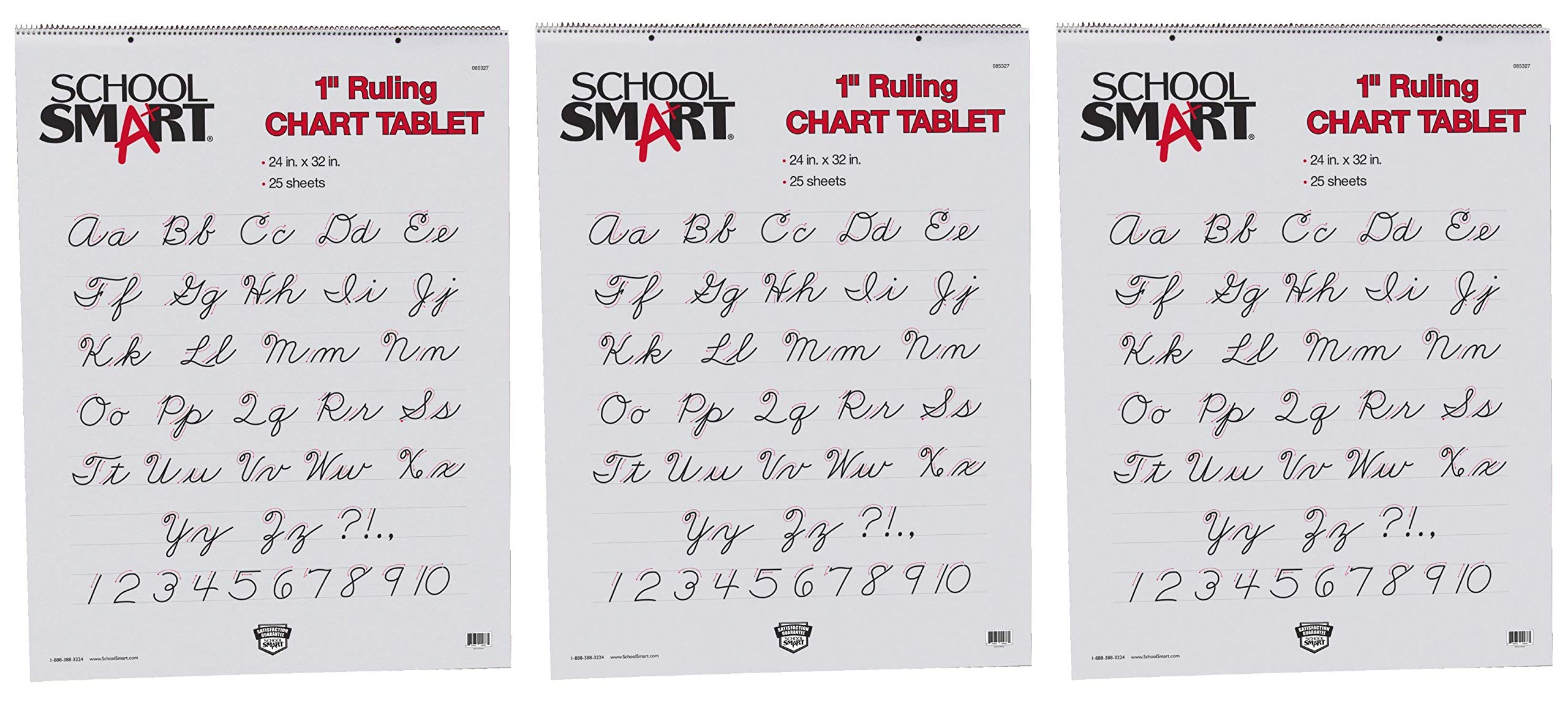 School Smart Chart Paper Pad, 24 x 32 Inches, 1 Inch Rule, 25 Sheets (Тhrее Pаck) by School Smart (Image #1)