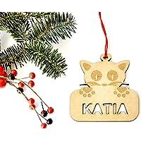 Adorno mascota gato de Navidad de madera personalizadas ornamento para el árbol de Navidad
