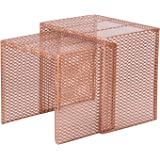 Adeco Luxury Modern Designed Copper Golden Metal Nesting End Coffee Side  Table, Set Of 2