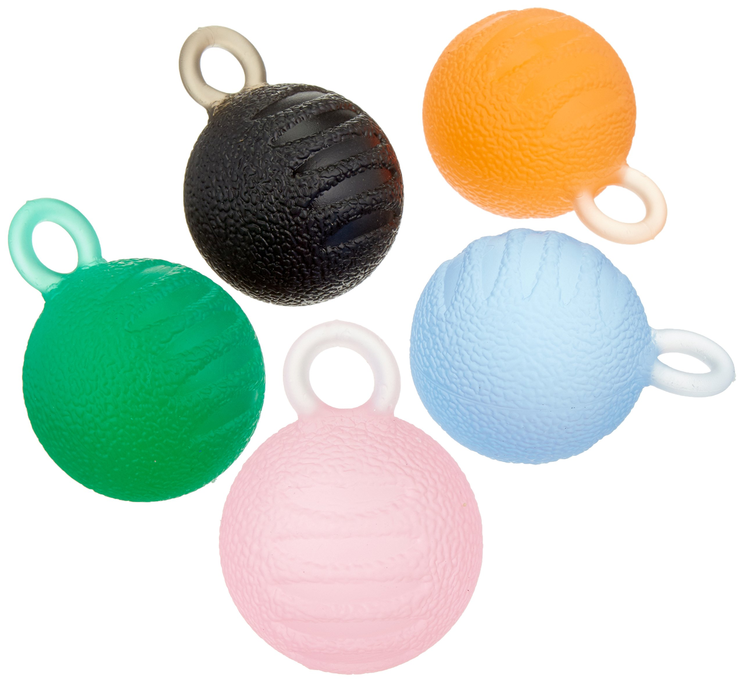 Sammons Preston Hand Exercisers with Loops, Set of Five Exercise Balls for Finger & Thumb Strength, Physical Therapy, & Hand Rehabilitation, Easy to Squeeze Stress Ball for Strengthening Exercises