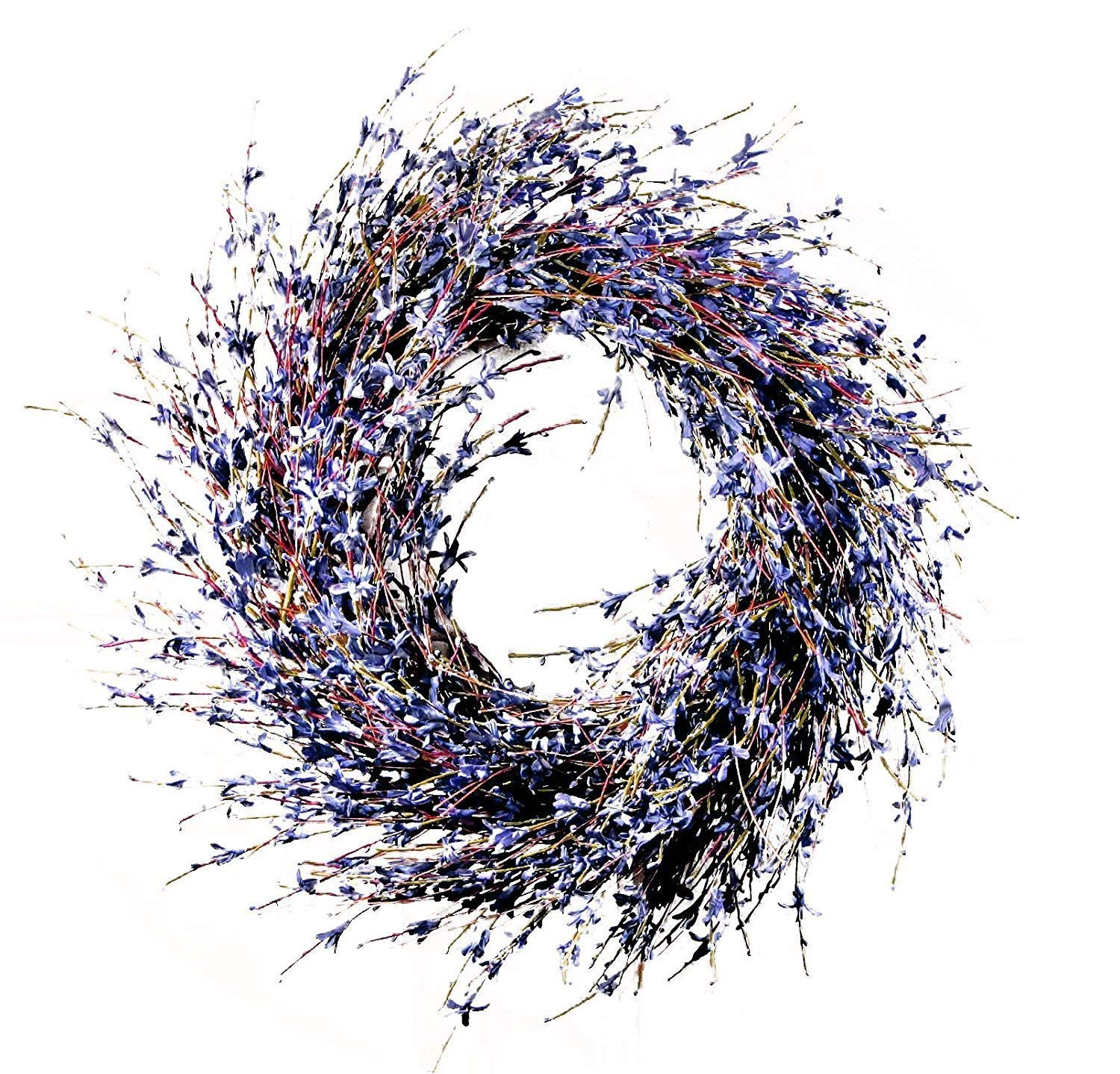 """Charm & Chic Faux Dried Lavender Floral Door Wreath Natural for Fall Front Door or Indoor Home Decor - ✿ DESIGN Handcrafted elegantly with Lavender and fall foliage on a thick natural grapevine wreath base.  ✿ USEThis is a gorgeous, high-quality door wreath that will bring style and charm to the front of your home. Perfect for the holidays, this lavender wreath is versatile enough to welcome guests to your home for any occasion. In fact, you may even want to keep it hanging year round! It is small enough not to overwhelm your door, yet it never fails to catch your attention with its grace. ✿ MEASUREDimensions: 19.7"""" W x 2""""D x 19.7"""" H Weight: Approximately 2 lbs. Use: Indoor and outdoor use. Perfect as home accent around the holidays or any time. Material: Paper, twigs Includes: Wreath with artificial lavender-like flowers - living-room-decor, living-room, home-decor - 814kjEik8NL -"""