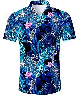 Simgahuva Hombres Camisa Hawaiana Coco Árbol Botón Aloha Shirts