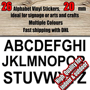 26 alphabet a z letters or custom personalised text 20 mm vinyl stickers