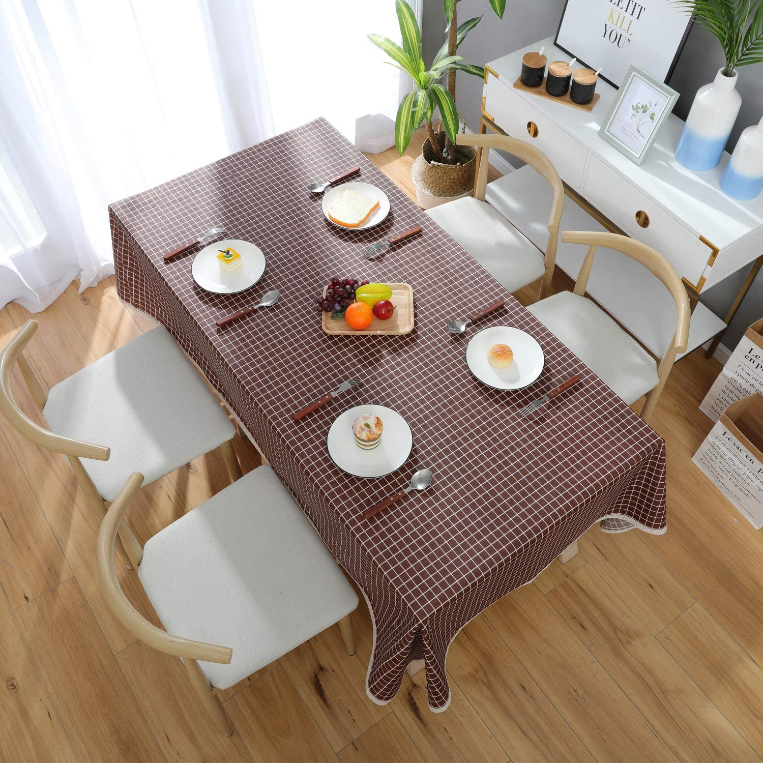 145x200cm, Coffee Checkered DARUITE PVC Table Cloth Rectangle Table Cover Kitchen Tablecloth Heavy Weight Vinyl Wipe Clean Waterproof Oil-proof Stain-resistant