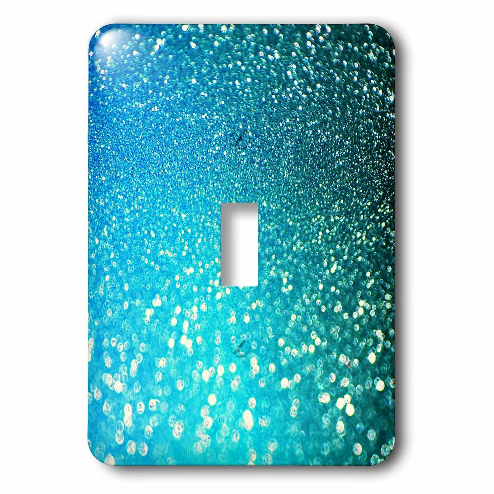 3dRose (lsp_267050_1) Single Toggle Switch (1) Sparkling Luxury Elegant Aqua Teal Blue Faux Glitter Effect Artprint