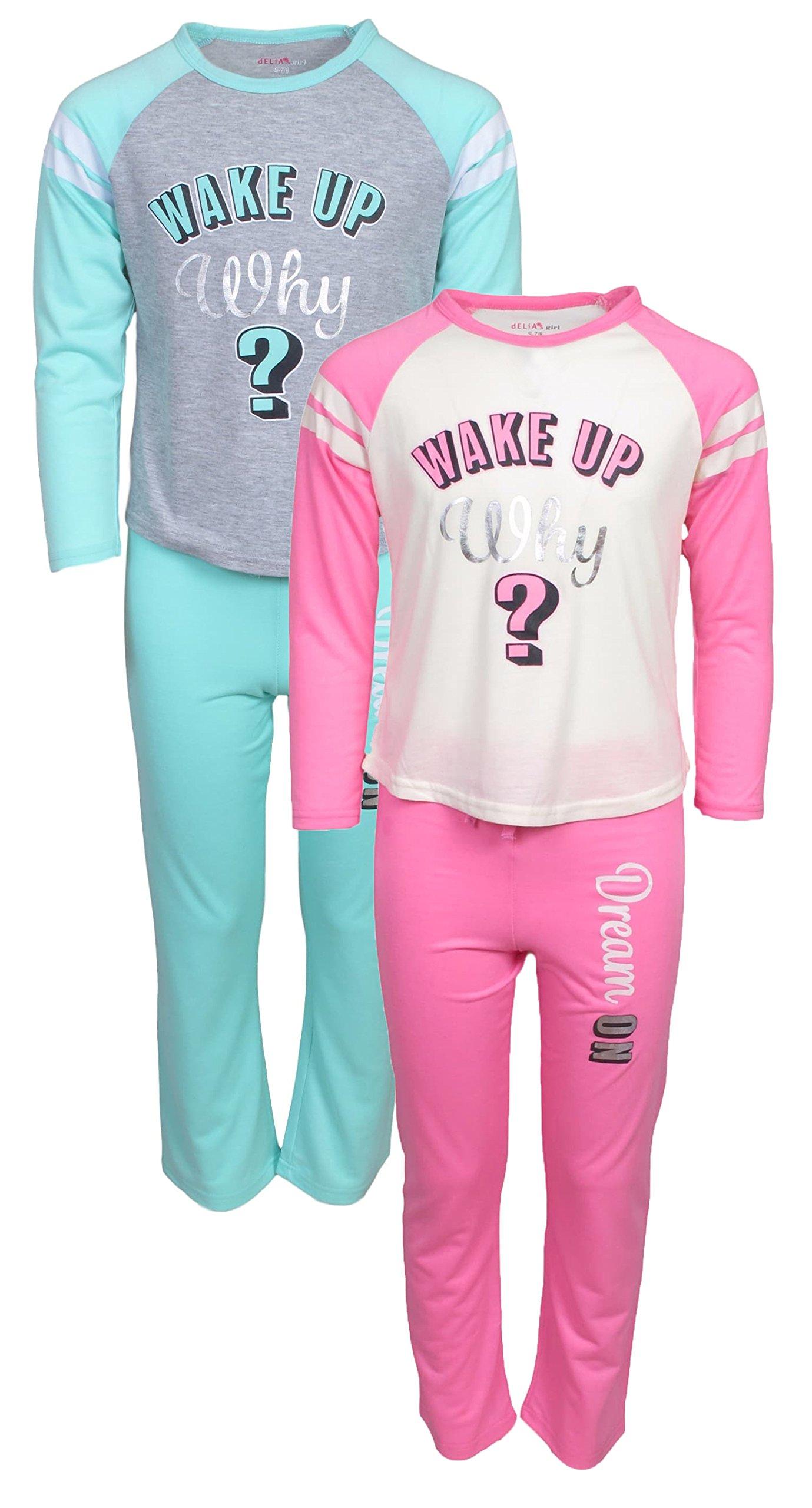 dELiA*s 'dELiAs Girls Pajama Sleepwear Sets Long Sleeve Shirts With Pants, Wake Up, Size 6X'