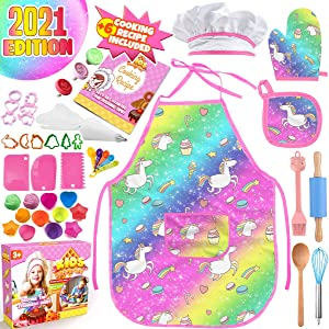 Cheffun Unicorn Baking Toy for Girls - Child Cooking Utensils Tools Kits Toddler Kids Dress Up Pretend Role Play Food Accessories Kids Apron Arts and Crafts Supplies 3 4 5 6 7 8 9 10 11 12 Years Old
