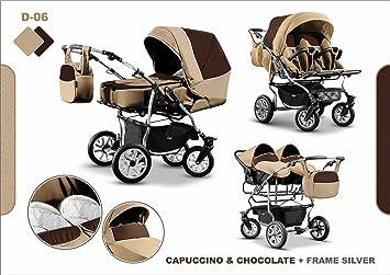 Zwillingskinderwagen mit babyschale  Zwillingswagen Mikado Kinderwagen - 3 in 1- Set Wanne Buggy ...