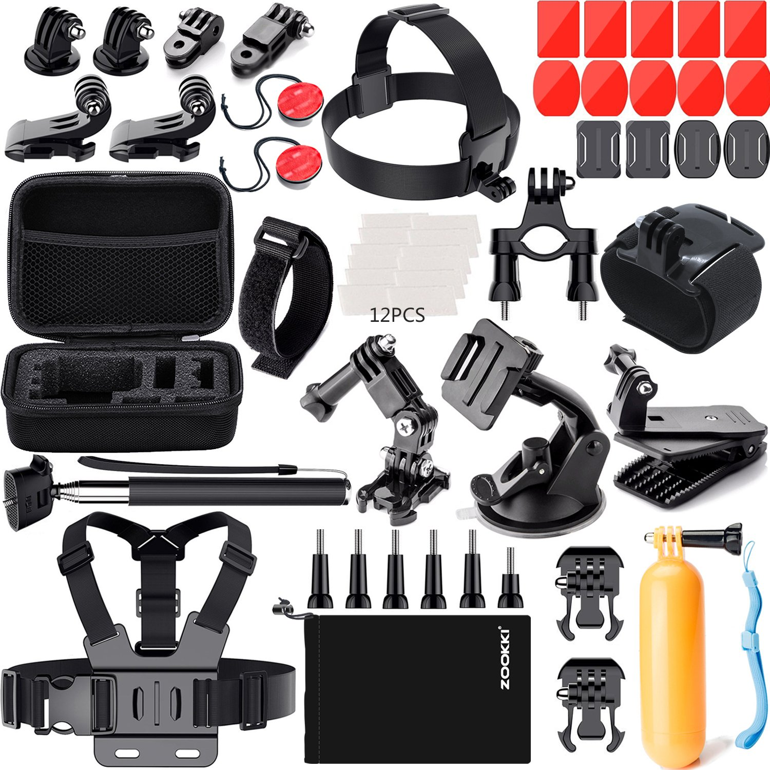 ZOOKKI Accessories Kit for GoPro 6 Hero 5 Session 4 Silver 3 Black SJ4000/SJ5000/SJ5000X/SJ6 LEGEND/SJ7 Sports Camera Accessories Set for Xiaomi Yi 4K/Lightdow/DBPOWER/dOvOb by ZOOKKI