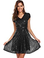 Unibelle Women's Sequin Dress V Neck Cap Sleeve Sparkle Cocktail Club Party Dress