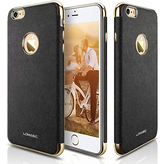 huge selection of 3b0d3 1cd4f LOHASIC iPhone 6s Case, iPhone 6 Case, [Vintage Leather] Modern Textured  Grip Cover Electroplate Frame [Slim Fit] Flexible Soft Cases Shockproof ...