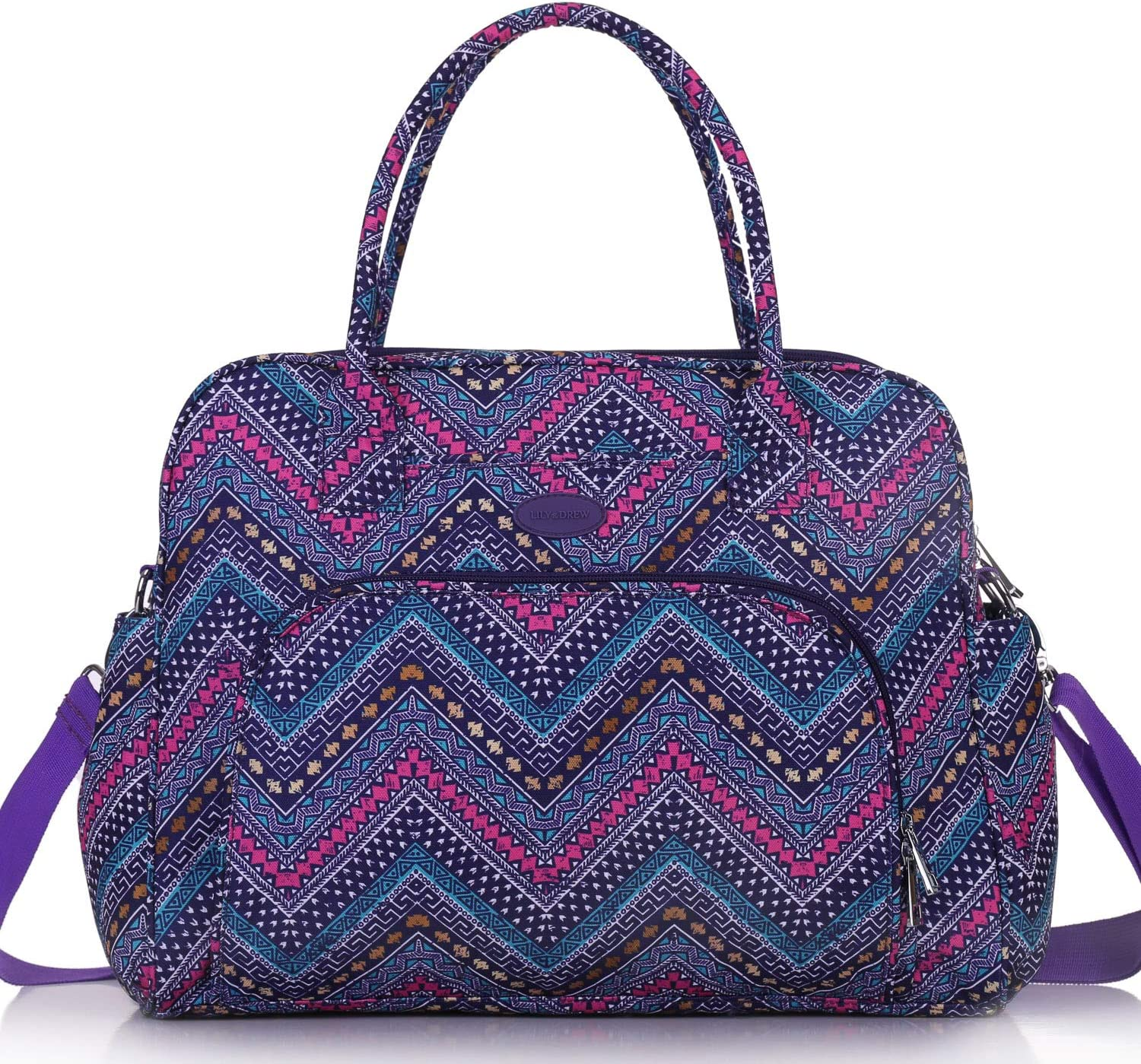 Lily & Drew Carry On Weekender Overnight Travel Shoulder Bag for 15.6 Inch Laptop Computers for Women (Aztec Zigzag V2)