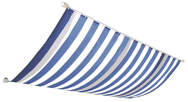 Windhager Sonnensegel für Seilspanntechnik Sonnenschutz Segel 420 x 140 cm, ideal für Pergola oder Wintergarten, BLAU/WEISS 10808