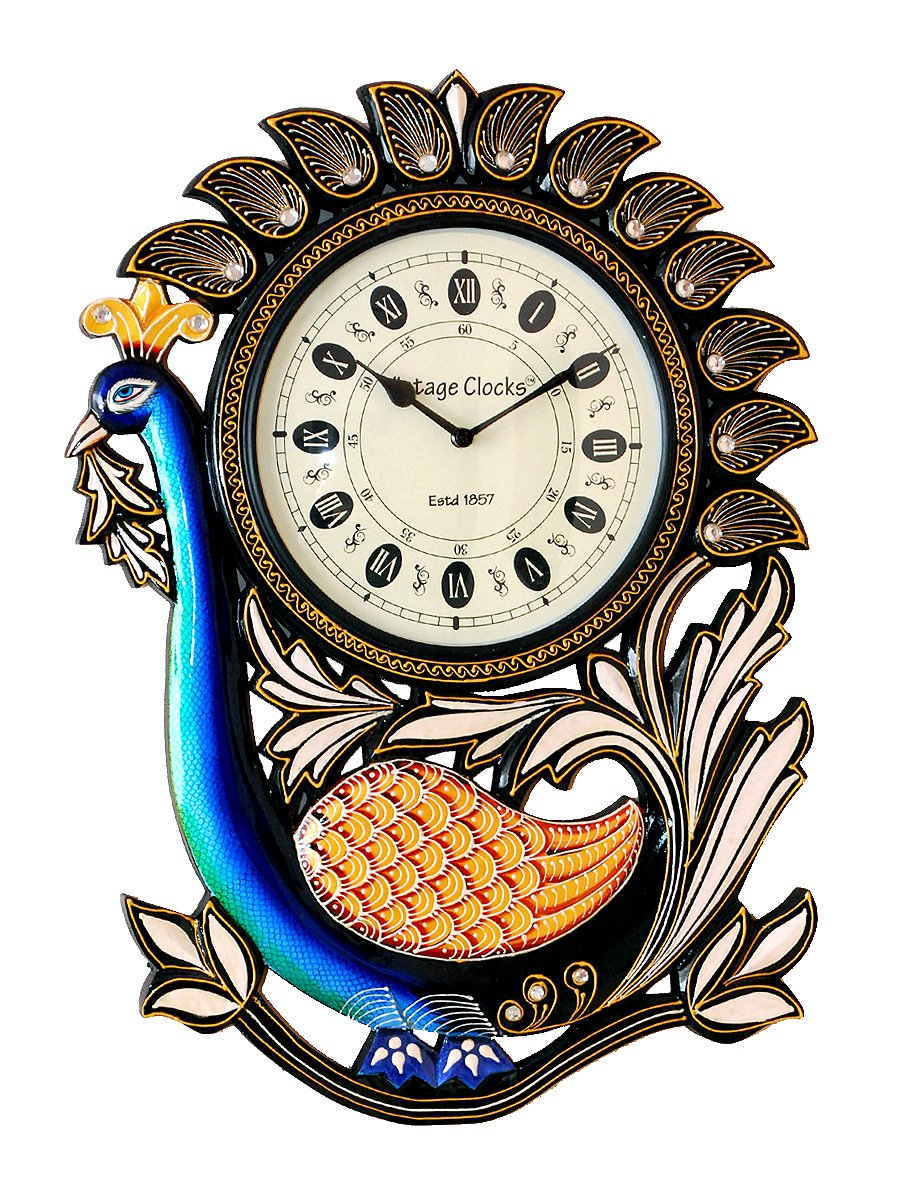 Buy vintage clock handicraft peacock design pine wood clock online buy vintage clock handicraft peacock design pine wood clock online at low prices in india amazon amipublicfo Images