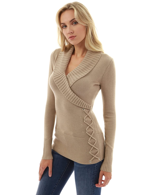 Deep Beige PattyBoutik Women Shawl Collar Faux Wrap Lace Up Sweater