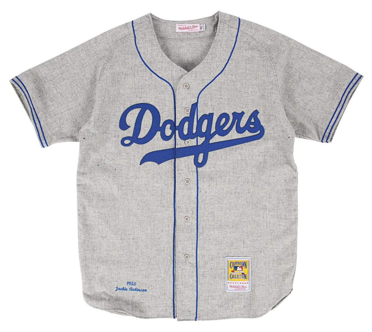 Jackie Robinson Brooklyn Dodgers Mitchell   Ness Authentic 1955 Road  Jersey  Amazon.co.uk  Sports   Outdoors 4ac1c402d16