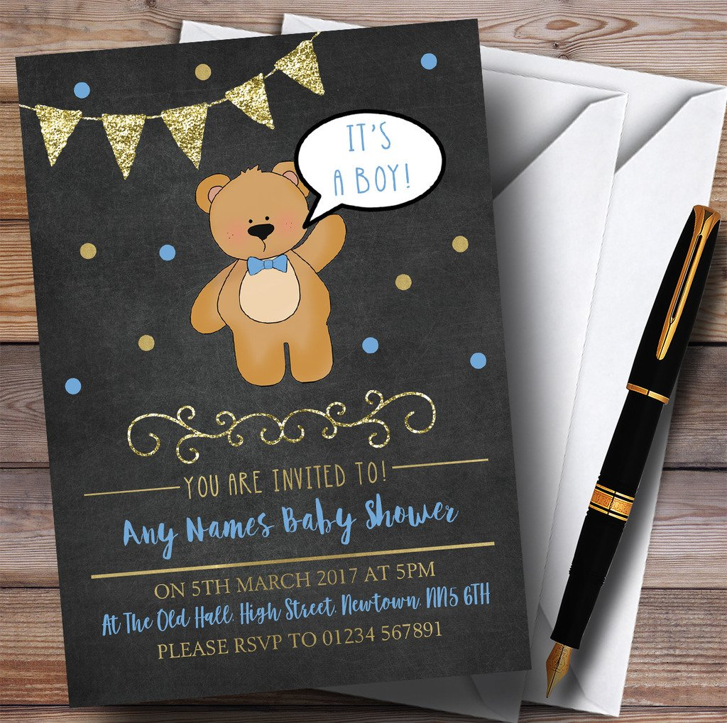 Chalk Gold Boys Teddy Bear Invitations Baby Shower Invitations