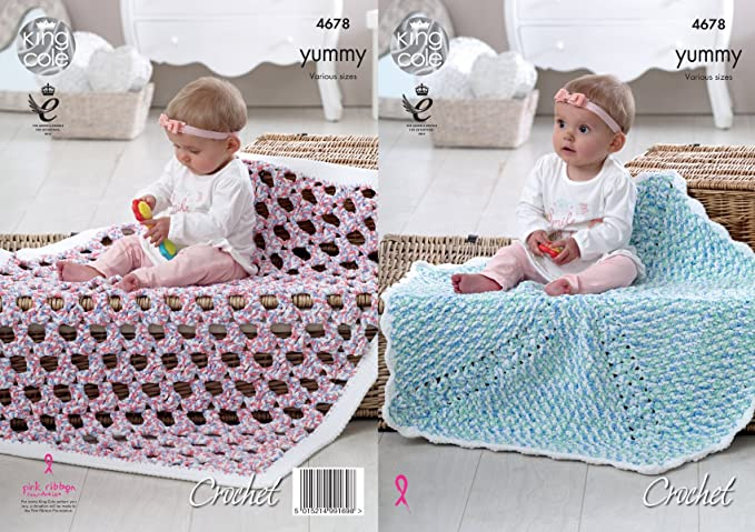 King Cole 4678 Häkelmuster Baby Decken in King Cole Yummy Chunky ...
